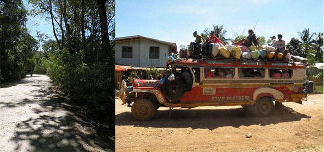 Account officers have come to dread stretches (left photo) like this that passes through heavily forested areas – these are sites of several highway robberies and hold-ups. On the right is the common mode of transport in and out of Baungon; note the dusty roadside. During the summer, passengers endure a virtual dust storm as vehicles blow out dust.